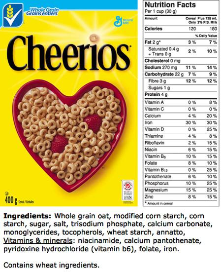 Nutrition facts of cheerios